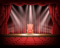 Red curtain and theatrical stage with red vintage chair. Open red curtain and illuminated theatrical stage with red vintage chair standing on it, realistic Stock Image