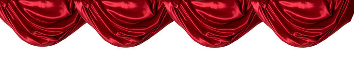 Red Curtain Valance, Isolated. A draped red satin curtain valance against white Stock Photos