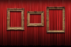 Red Curtain with Vintage Frames Stock Photos