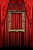 Red Curtain with Vintage Gold Frame Stock Image