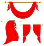 Red curtain vintage  set Stock Images