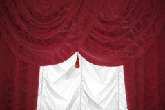 Red curtain on white Stock Photography