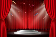 Red curtain with white stage and confetti royalty free illustration