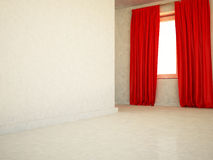 Red curtain on the window Stock Photography