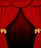 Red Curtain With Golden Bows Royalty Free Stock Image