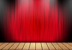 Red curtain and wood stage background. Stock Image