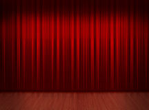 Red curtain with wooden floor Royalty Free Stock Images
