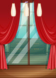 Red curtain in wooden room. Illustration Stock Photos