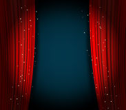 Red curtains background with glittering stars Stock Image