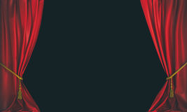 Red curtains background. Red theater curtains on a dark background Royalty Free Stock Images