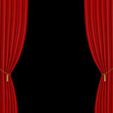 Red curtains on a black  background Royalty Free Stock Photos