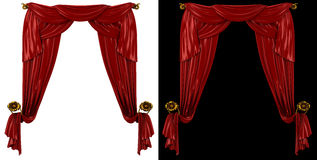 Red curtains on a black and white background Stock Image