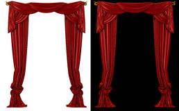 Red curtains on a black and white background Royalty Free Stock Image