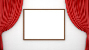 Red curtains and blank frame Royalty Free Stock Photography