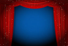 Red curtains on blue background with glittering stars. Open curtains as theater or movie presentation or cinema award announcement with space for text. vector Stock Photography