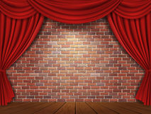 Red curtains on brick wall background. Red curtains and brick wall vector illustration