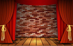 Red curtains on  brick wall Stock Image