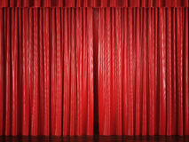 Red curtains with a bright spot Royalty Free Stock Photography