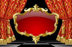Red curtains with classic ornament and decorative gold baroque. Suspended decorative gold gold baroque frame on the red curtain background. Square presentation Royalty Free Stock Images
