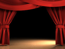 Red curtains Stock Images