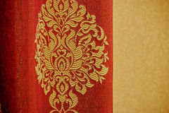 Red curtains with embroidery Stock Photography