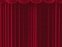 Red curtains from fabric with a rough texture Royalty Free Stock Photos