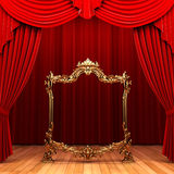 Red curtains, gold frame Stock Photo