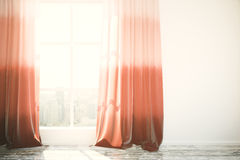 Red curtains in interior Stock Photography