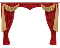 Red Curtains Isolated on White Background Royalty Free Stock Photos