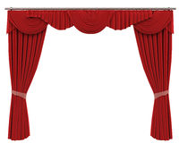 Red Curtains Isolated on White Background Stock Photos