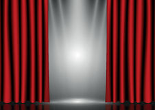 Red curtains on lighting stage Stock Photos