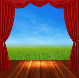 Red curtains on nature background Stock Image