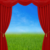 Red curtains on nature background Royalty Free Stock Images