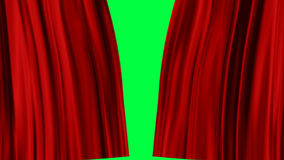 Red Curtains open. Isolated on green screen vector illustration
