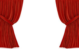 Red curtains over white Stock Photos