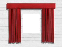 Red Curtains and Wall. Curtains opened to reveal space for artwork or commemorative plaque on a white brick wall royalty free stock images