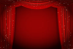 Red curtains on red background with glittering stars. Open curtains as theater or movie presentation or cinema award announcement with space for text. vector Stock Image