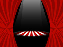 Red curtains with ribbons and lights on stage. Vector royalty free illustration