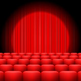 Red Curtains with Spotlight Stock Photography