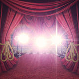 Red Curtains Stage Stock Image