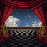 Red Curtains Stage. Decorative retro theater stage red curtains with floor Stock Photography