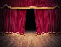 The red curtains are opening for the theater show. The red curtains of the stage are opening for the theater show stock illustration