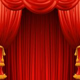 Red curtains. Theater scene. Vector illustration Stock Image
