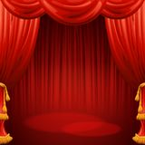Red curtains. Theater scene. Vector illustration Royalty Free Stock Image