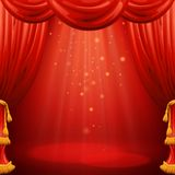 Red curtains. Theater scene. Vector illustration Royalty Free Stock Photos