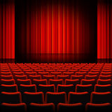 Red Curtains Theater Stage Stock Photo