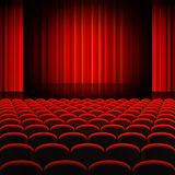 Red Curtains Theater Stage. A high detail vector illustration of a Red Curtains Theater Stage, with Rounded Seats Royalty Free Stock Photos