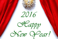 Red curtains theatre stage white background happy new year 2016. Polar star above Stock Images