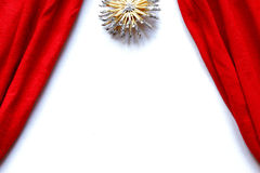 Red curtains theatre stage white background. Polar star above Stock Photo