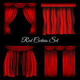 Red curtains on transparent background stock illustration